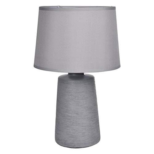 Paris Prix - Lampe à Poser Céramique strié 31cm Gris Mat