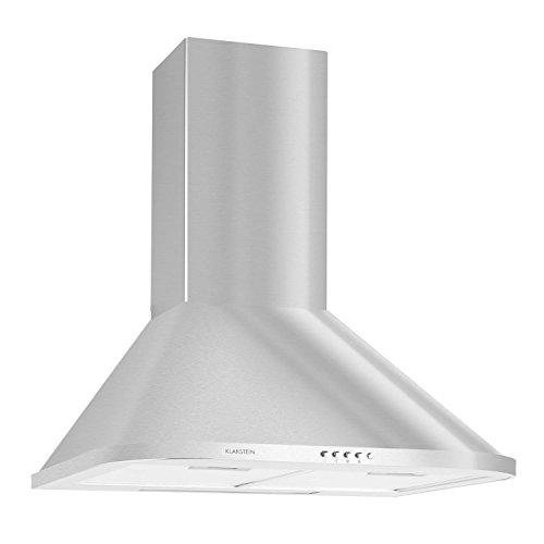 Klarstein Karajan 60 Cappa Aspirante da cucina a parete in acciaio (60 cm, capacità di aspirazione pari a 340 m³/h, design arrotondato, filtri antigrasso removibili) - argento