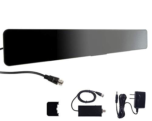 GE Indoor Amplified Digital HD TV Antenna, Modern Bar Design, Long Range Amplifier Signal Booster, Supports 4K 1080p VHF UHF HDTV, Smart TV Compatible, Black, 33691 (Renewed)
