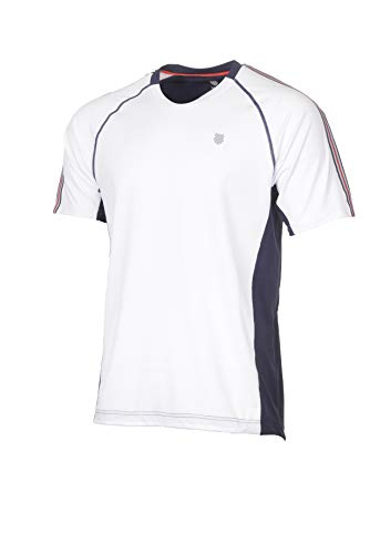 K-Swiss Heritage S/S Camiseta de Tenis, Hombre, Blanco, M