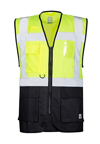ARDON Signal Warnweste Professionelle Reflektierende Weste zweifarbig atmungsaktiv mit Taschen Reißverschluss Hohe Sichtbarkeit Warnschutzweste Auto KFZ EN471 gelb (XL)