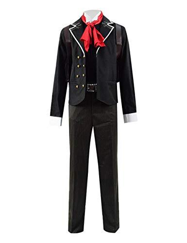Yewei Spiel BioSho Booker Kostüm Herren Cosplay Jacke Gestreift Hosen Gürtel Kostüm Outfit (Schwarz, XXL)