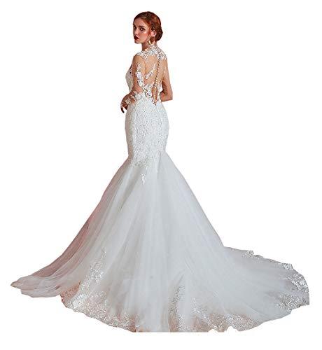 CGown Damen High Neck Pailletten Illusion Spitze Meerjungfrau Hochzeit Kleider für Braut mit langen Ärmeln Zug Brautkleid Gr. 34, weiß
