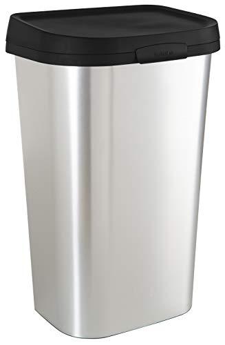 CURVER Poubelle Mistral 50L - Grand Bac à Ordures Rectangulaire en Plastique - Couvercle à Clips, Système Cache-Sac - Aspect Métallisé, Matériau Anti-Traces - 39,9 x 31,7 x 62,4 cm