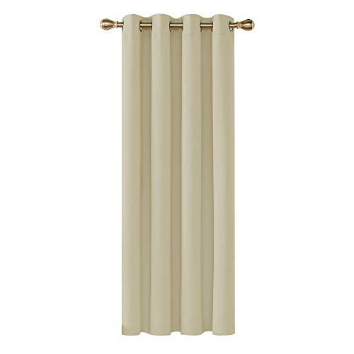 Deconovo Tenda Oscurante Termica Isolante con Occhielli per Finestre Soggiorno Interni Beige 140x260 CM 1 Pannello