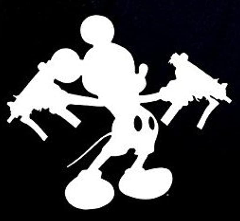 Mickey Mouse Uzi Guns Decal Vinyl Sticker|Cars Trucks Vans Walls Laptop| WHITE |5.5 x 4.75 in|CCI789