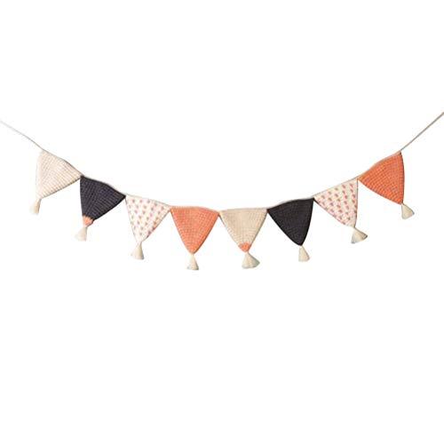 TOYANDONA Banderas del triángulo banderín Bandera Crochet empavesado Guirnalda decoración Infantil para cumpleaños Fiesta de Bienvenida al bebé Suministros (Naranja)