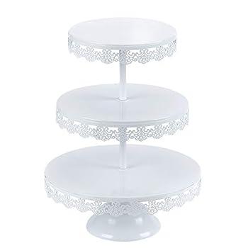 VILAVITA 3-tier Round Cupcake Stand Dessert Tower Iron Cupcake Holder Display Stand for Wedding Birthday Party Celebration White