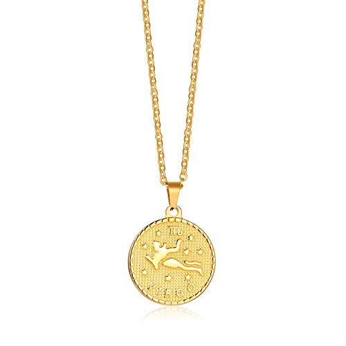 Gamtic 12 Constelaciones Moneda Collar Mujeres y Hombres,Chapado en Oro de 14K Joyas para Parejas,Cadena de 20' (Virgo)