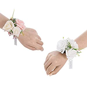 Silk Flower Arrangements Ling's moment Blush & Whtie, Set of 6, Artificial Flowers Bridesmaid Wrist Corsage Bracelet, for French Rustic Vintage Wedding, Bridal Shower Party, Wedding Ceremony Anniversary, Corsage Ribbon Prom