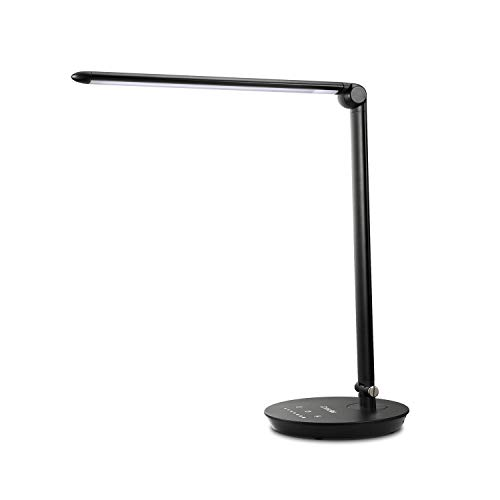 Consciot 12W LED Desk Lamp Dimmable and Adjustable Table Lights TouchSensitive Control Panel with 5 Lighting Modes 7 Brightness Levels Timer and 5V/21A USB Charging Port  Black