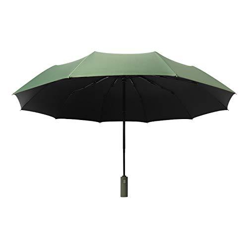 Paraguas automático de Tres Pliegues de 10 Huesos, Paraguas de Paraguas de Negocios de Dos usos, Lluvia de Pegamento Negro