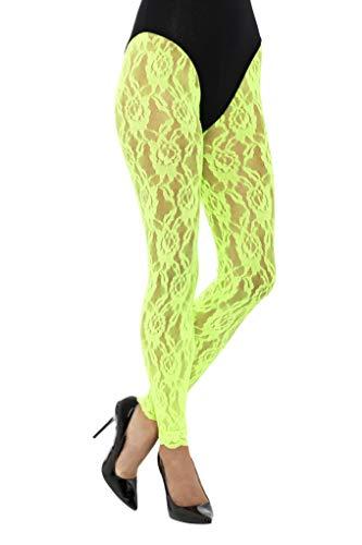 SMIFFYS Leggings in pizzo anni '80, fluo Donna, Neon Verde, XS/L, 45160