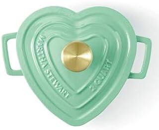 Martha Stewart Collection Enameled Cast Iron 2-Qt. Heart-Shaped Casserole-Mint