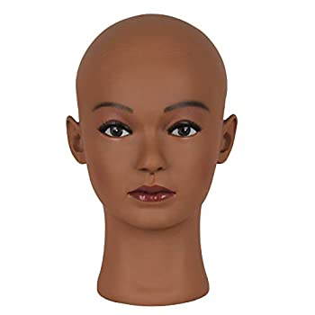 HAIR WAY Bald Mannequin Head Female Professional Cosmetology Head Make up Doll Head for Wig Making Displaying Eyeglasses Hair with T-pins  Dark Brown