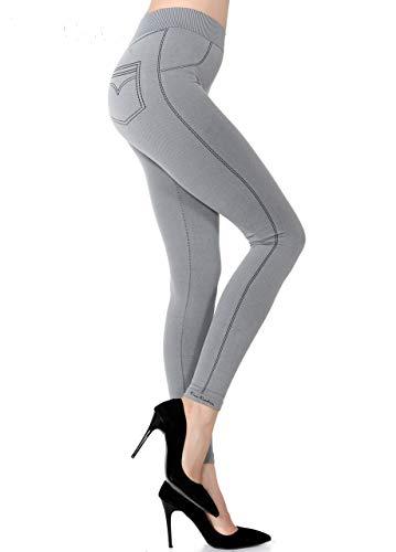 Pierre Cardin Women Seamless Super Soft Stretchy Fashion Jean Legging, Denim Look, Faux Pockets (Grey, Medium)