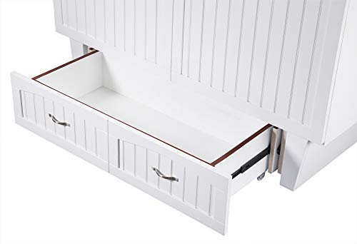 Atlantic Furniture AC5940002 Nantucket Murphy Bed Chest with Charging Station & Mattress, Queen, White