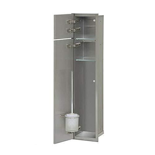 WC-Wandcontainer, 2 befliesbare Türen,1 Papierrollenfach,1 Leerfach, Anschlag links - WC-Modul