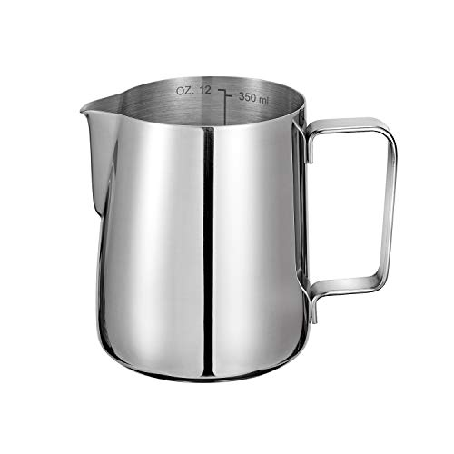 Milk Jug 350ml 12oz Espresso Milk Frothing Pitchers 304 Stainless Steel Barista Cup for Making Coffee Cappuccino
