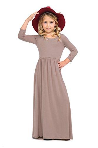 Pastel by Vivienne Honey Vanilla Girls' Fit and Flare Maxi Dress Medium 7-8 Years Mocha