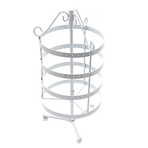 Round Rotating Earring Stand Metal Four-Layer Jewelry Display Holder Hanger for Earrings Necklaces Bracelets(144 Holes),White