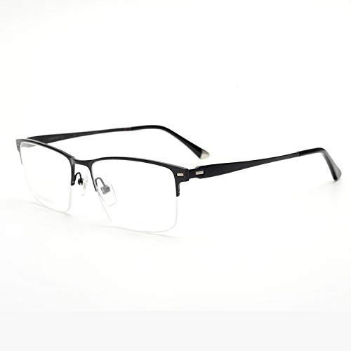 Yangjing-hl Gafas de Montura de Titanio ultraligeras de Medio Marco Se Pueden equipar Gafas de miopía para Hombres Gafas de Cara Grande