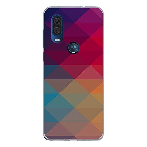BJJ SHOP Transparent Hülle für [ Motorola One Vision ], Klar Flexible Silikonhülle, Design: Mehrfarbige Pyramidenformen