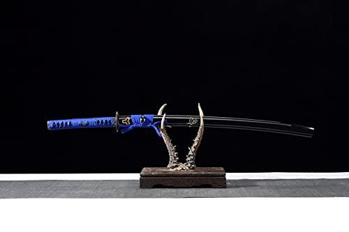 Mastergoswords Real Handmade Japanese Samurai Full Tang Katana High Carbon Steel Clay Tempered Blade Battle Ready Sword with Black Sheath … (Blue Baked Blade Katana)