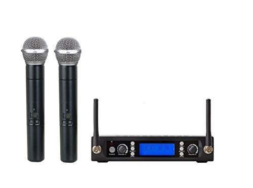 Bolymic BL3200 Pro Professional Dual Channel UHF Dual Wireless Cordless Microphone System 2 Handheld Microphones Mike for Churches, Performance, Karaoke, Parties
