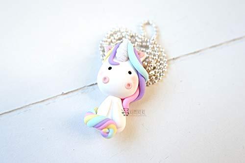 Collana Unicorno kawaii in Fimo, unicorno magico, collana fatta a mano in pasta sintetica polimerica