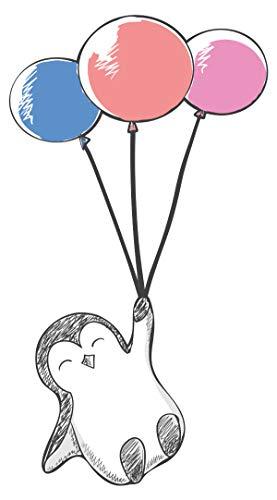 Wandtattoo Babyzimmer Tiere Wandsticker Süßer Pinguin mit drei farbigen Luftbal