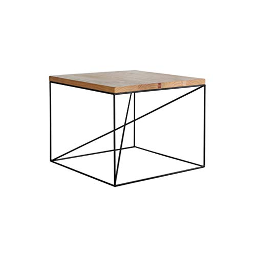 SZQ-Table Basse Table carrée en Bois Massif Cadre en métal Stable Durable Petite Table Simple Bar de Loisirs Appartement Salon de thé Table à thé Table de Sofa (Size : 60 * 60 * 45CM)