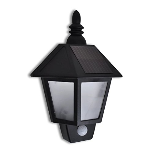 Zora Walter - Lámpara Solar de Pared con Sensor de Movimiento (LED, 20 x 9,5 x 27,5 cm), Color Negro