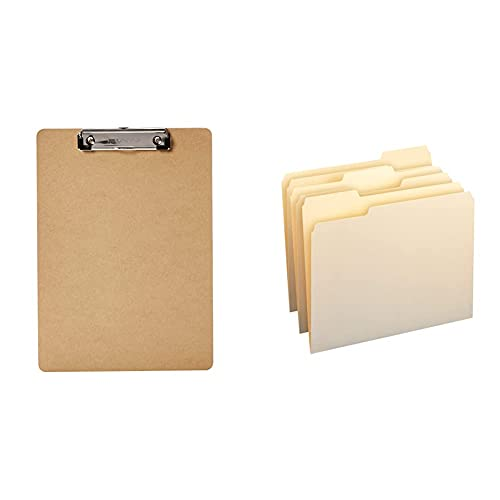 Amazon Basics Hardboard Office Clipboard - 6-Pack & 1/3-Cut Tab, Assorted Positions File Folders, Letter Size, Manila - Pack of 100
