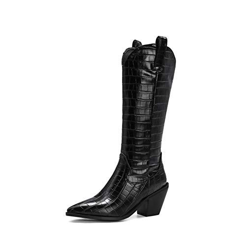 Damskie buty do kolan, wysokie buty na grubym obcasie, damskie wytłaczane skórzane buty kowbojskie w szpic, pojedyncza podszewka/cienka pluszowa podszewka