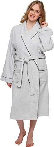 Silver Lilly Women's Terry Cloth Kimono Spa Bath Robe w/Piping (Light Grey, L/XL)