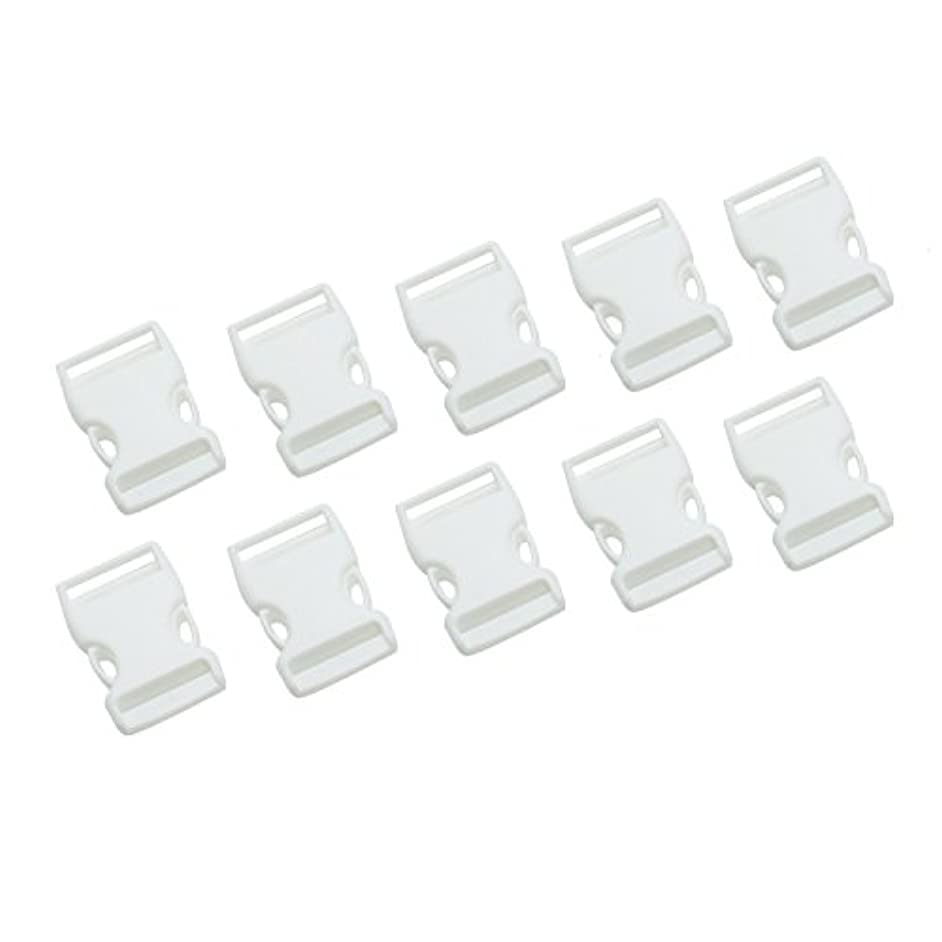 Buorsa 10 Pcs 25 mm - 1 Inch White Release Plastic Buckles Adjustable Buckles Plastic Side for Backpacks, Luggage Belts and Outdoor Supplies