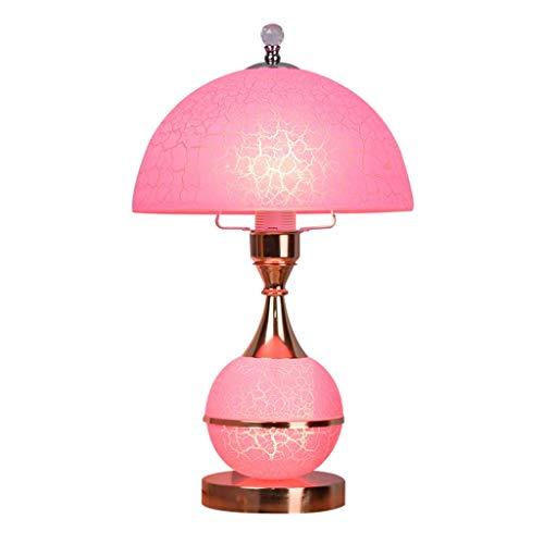 GIOAMH Lámpara de mesa rosa romántica creativa, pantalla de cristal con apariencia de grietas en el hielo para dormitorio, sala de estar, estudio, restaurante