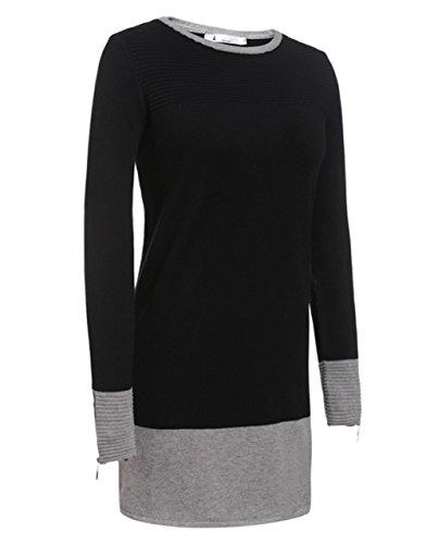 ZEARO Herbst Winter Strickkleid in kontrastfarbener Kombination Rundhals Feinstrick Basic Kleid Schwarz XL 48 50