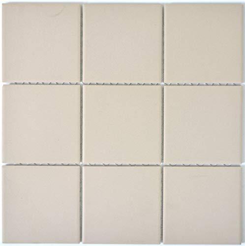 Mosaik Fliese Keramik hellbeige unglasiert Duschtasse Bodenfliese MOS22-1202-R10_f