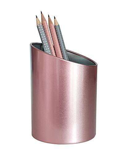 Produco 斜線 ペン立て 鉛筆立て ペンスタンド 事務 オフィス 机上収納 用品ケース, ブラシスタンド (ローズゴールド) ピンク