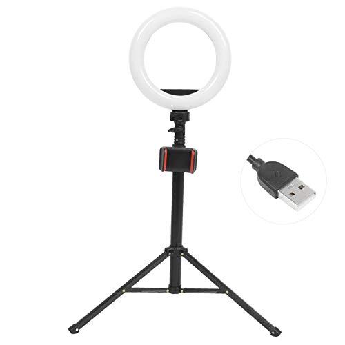 Anillo de luz de 8 '' con Soporte de trípode Extensible, Anillo de luz LED para Selfies y Soporte para teléfono Celular Soporte de trípode 2 en 1 para transmisión en Vivo/Maquillaje/Youtube/vlog