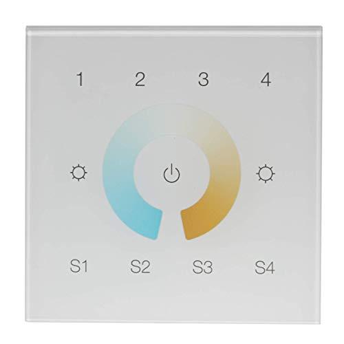iluminize Zigbee 3.0 Wand-Dimmer mit Touchlink für duo-weiße LEDs, 4 Zonen (für duo-weiße LEDs)
