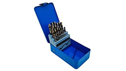 PeTools, 25tlg. Edelstahl-Bohrer HSS-E (1-13mm) Kobalt Cobalt (Co5) Spiral-Bohrer VA mit Kreuzanschliff, Metallbohrer, Stahlbohrer