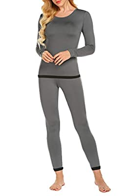 Ekouaer Women's Long Thermal Underwear Fleece Lined Winter Base Layering Set (Grey S)