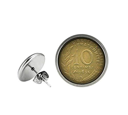Xubu - Pendientes de botón con diseño de Moneda Francesa, 10 Pendientes Yuan, Regalos para coleccionistas de Monedas