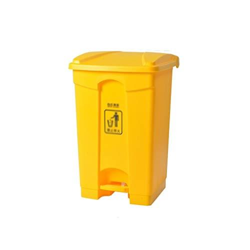 Garbage tribe La Basura al Aire Libre Amarillo Puede, de Alta Capacidad Pedal Comercial Calle Bin Parque Limpieza La Papelera (Color : Yellow, Size : 87L)