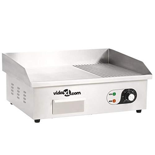 vidaXL Plancha Eléctrica de Cocina Acero Inoxidable 3000 W 54x41x24 cm Comida
