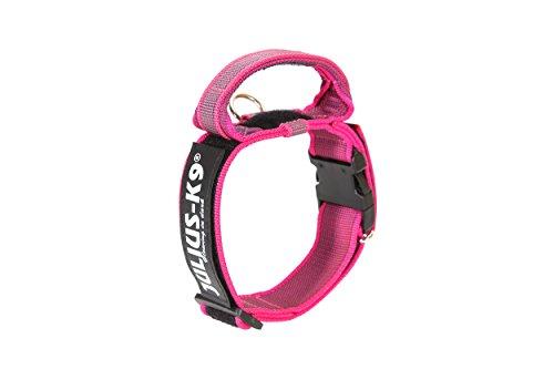 JULIUS-K9, 100HA-K-PN-2015 Color & Gray K9-Halsband mit Haltegriff, Sicherheitsverschluss und Logo, 40 mm*38-53 cm, verstellbar, pink-grau