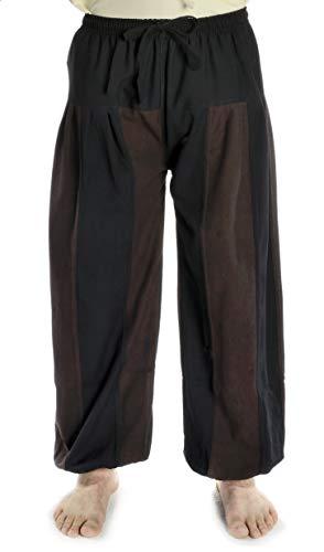 HEMAD Pantalon Bicolore médiéval pour Homme - Coton - L/XL Noir-Marron